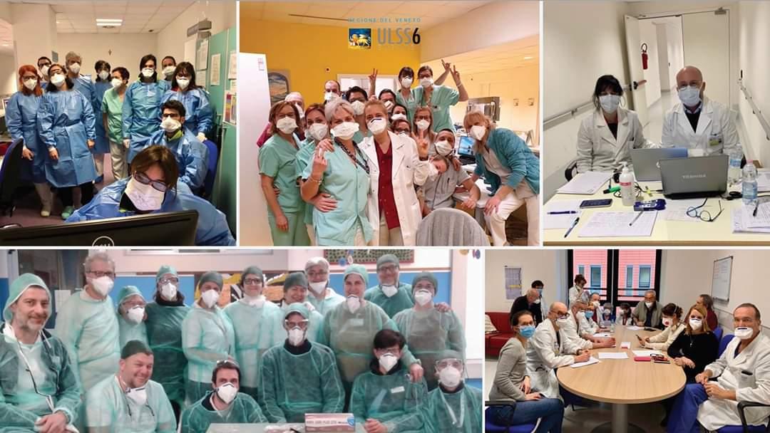 Il personale sanitario alle prese con l'emergenza Coronavirus (foto dalla pagina facebook dell'Ulss 6 Euganea)
