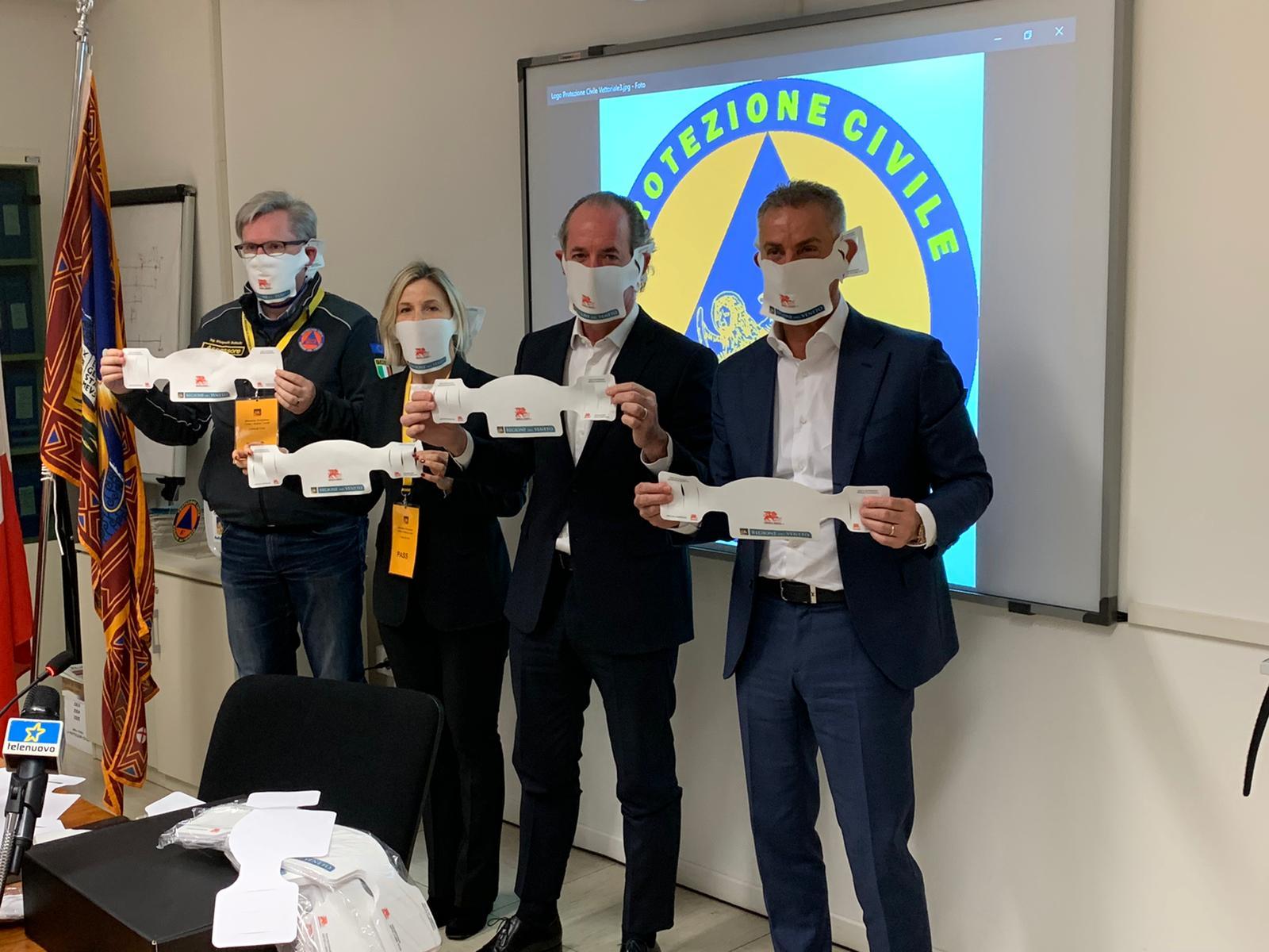 Fabio Franceschi, Luca Zaia, Manuela Lanzarin e Giampaolo Bottacin