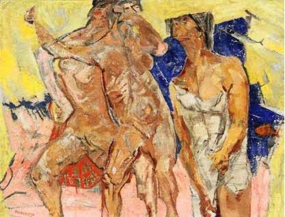 """Una delle opere esposta ad Abano: Fausto Pirandello, """"Bagnanti"""""""